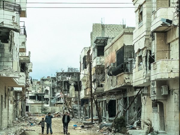 'Separation barrier and destruction in Baba Amr, Homs.', from Freedom House
