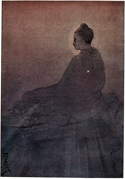 'The Victory of Buddha' by Abanindranath Tagore. The buddha, whose personal identity theory comes from his concept of the five aggregates, sits atop a boulder facing away.