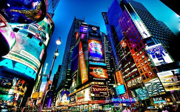 A vividly coloured image of Times Square, New York city by Francesco Diez